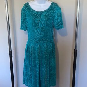 2XL LulaRoe Amelia - Teal Paisley Dress